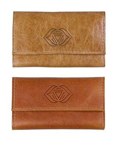 2 x Tabaktasche für Selberdreher echt Leder beige + hellbraun mit Chakra Motiv AJNA 15,5cm mit Kautschukfutter und Zigarettenpapierfach HANDGEARBEITET