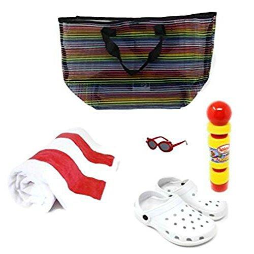 Price comparison product image Beach Towel, Beach Bag, Kids Sunglasses, Kids Clogs, Pool Toy: Foam Pumper 5 Piece Bundle (White/Med)