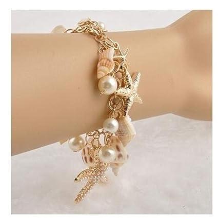 Cool Océan Multi Starfish Sea Star Conch Shell Pearl Chain Beach Bracelet S