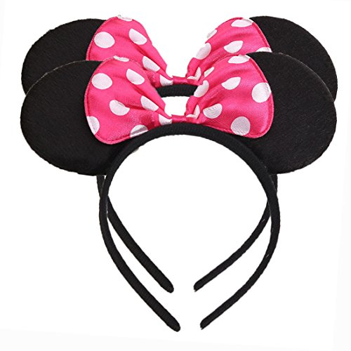 Set of 2 Mickey Minnie Mouse Ears Headband Boys and Girls Birthday Party Mom Hairs Accessories Baby Shower Headwear Halloween Party Decorations Costume Deluxe Fabric Ears with Dots Bow (Rose) (Decoration Hair Girl)