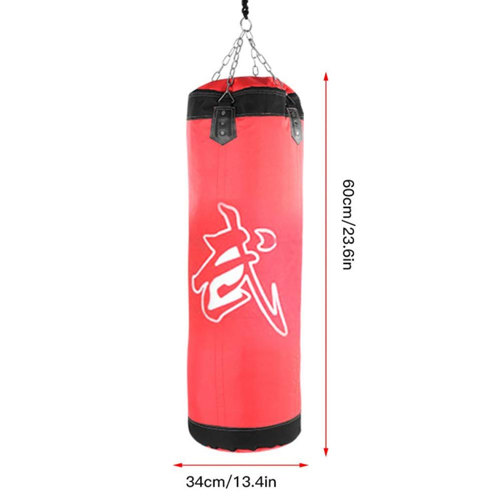 Kpffit Empty Boxing Sand Bag Hanging Kick Sandbag Boxing Training Fight Karate Punch Punching Sand Bag with Metal Chain Hook Carabiner (Red, 60cm Type 1) by Kpffit