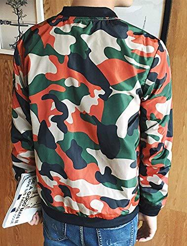 Uomo Giacca Arancia Top Allentata Antivento Cerniera Outdoor Outwear Con Targogo Impermeabile Camouflage Giacche Capispalla Stand Autunno Stampa d1awtScqx