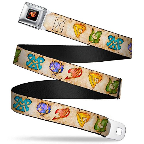 - Buckle-Down Seatbelt Belt - Fairy Tail 5-Guild Symbols Weathered Tan/Multi Color - 1.5