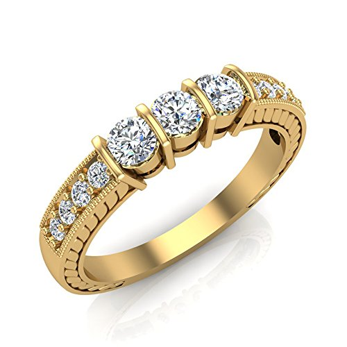 1/2 ct tw Diamond Vintage Past Present Future Millgrain Setting Ring 14K Gold (G,I1)