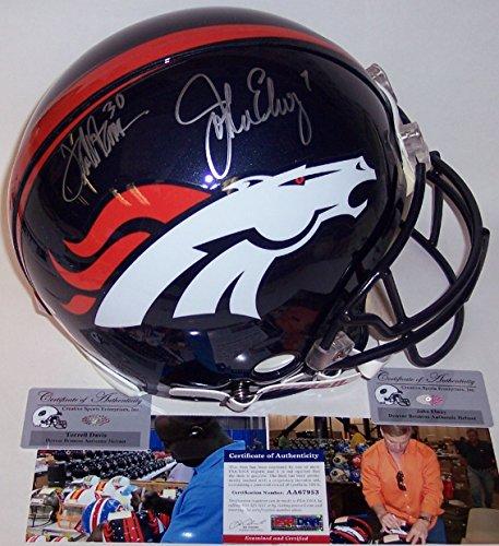John Elway Autographed Helmet - John Elway & Terrell Davis Autographed Hand Signed Denver Broncos Full Size Authentic Pro Football Helmet - PSA/DNA