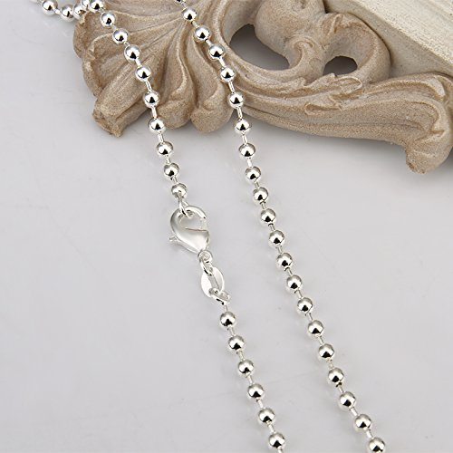 Xiaodou 925 Sterling Silver 3mm Moon Cut Bead Chain Crafted Ball Bead Necklace 16 Inch Perfect for Pendants or Alone