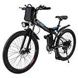 ANCHEER 26/16″ Electric Bicycle Electric Mountain Bike for Adult with 36V 8Ah Lithium-Ion Battery Ebike, Professional 21 Speed Gears