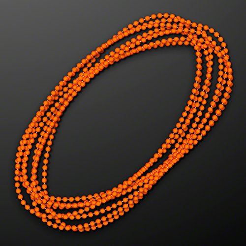 Orange Round Ball Mardi Gras Bead Necklaces (Set of (Mardi Gras Balls)