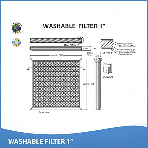 11x11x1 Washable Permanent A/C Furnace Air Filter by Kilowatts Energy Center (Image #3)