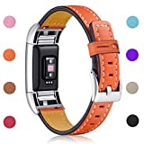 Image of Hotodeal Fitbit Charge 2 Replacement Bands, Classic Genuine Leather Wristband With Metal Connectors, Charge 2 Fitness Strap