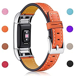 Hotodeal Fitbit Charge 2 Replacement Bands, Classic Genuine Leather Wristband With Metal Connectors, Charge 2 Fitness Strap, Tangerine