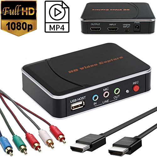 YOTOCAP 1080P HD Video Capture HDMI Video Game Capture Box Component YPBPR Recorder for PS3/ PS4/ Xbox 360/ Xbox One/Wii U/Nintendo Switch/Set Top Box etc. Support Mic in. Save to USB Flash Drive o (Capture Card For Xbox 360)