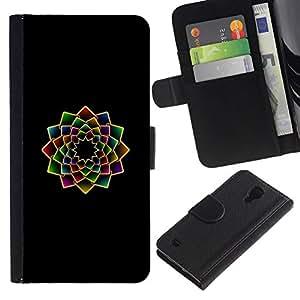 All Phone Most Case / Oferta Especial Cáscara Funda de cuero Monedero Cubierta de proteccion Caso / Wallet Case for Samsung Galaxy S4 IV I9500 // arte floral fractal minimalista vibrante negro