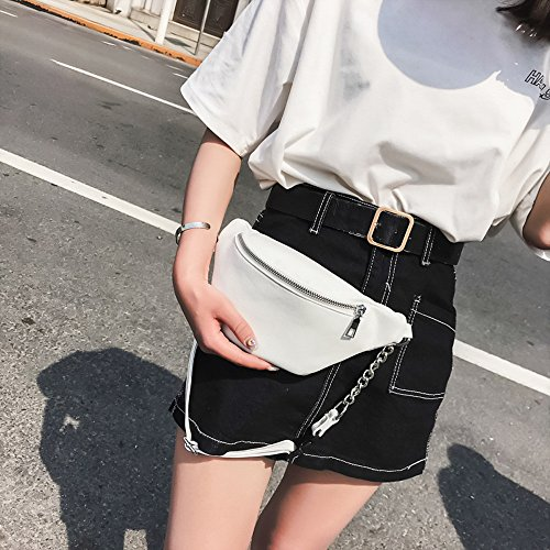 Bag Funky Fashion Shoulder Chest Sling Zipper Bag Leather Bum Bumbag White Waterproof with Hip Bag Waist Bag Travel Pack Phone Pack Storage Chain Soft Womens tfqwORf