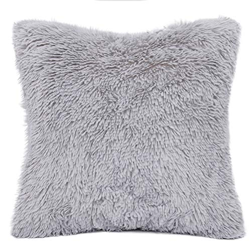 LONGFINE Five Colors for Luxury Style Faux Fur Pillow Case,Home Decorative Pillows,Cushion Cover for Sofa,Bedroom(18 x 18 Inch) (Gray)