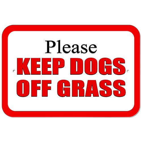 Graphics and More Plastic Sign Please Keep Dogs Off Grass Red - 6