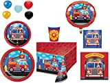 Build a Side Table Disposable Plates/Napkins/Cups/Tablecloth/Balloons Happy Birthday Flaming FireTruck Party Pack, 8-Piece Bundle