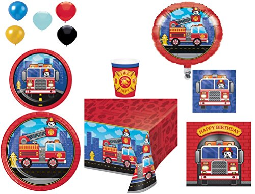 Disposable Plates/Napkins/Cups/Tablecloth/Balloons Happy Birthday Flaming FireTruck Party Pack, 8-Piece Bundle - Firefighter Luncheon Plate