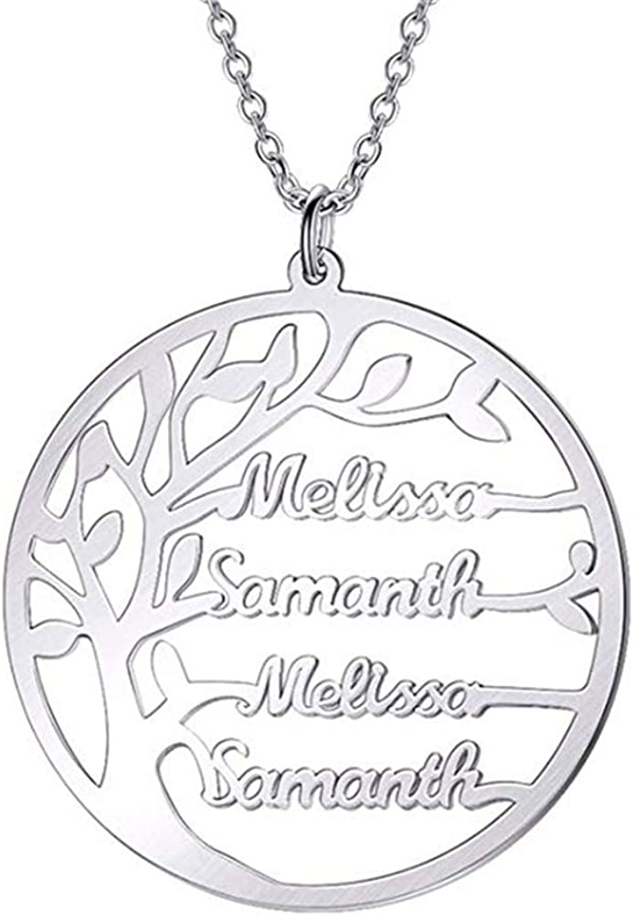 ZWSLY Personalized 925 Sterling Silver Necklace Custom Name Necklace Mother Family Tree Necklace