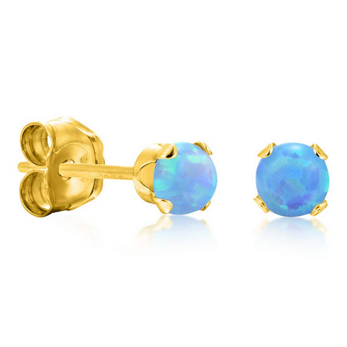Campton Gold Plate Over Sterling Silver Simulated Round Blue Opal Stud Earrings 925 3mm Small Model ERRNGS 13447