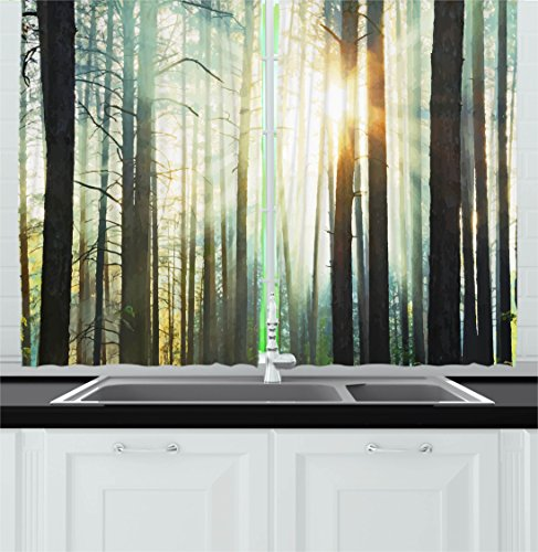 Country Kitchen Curtains by Ambesonne, Fairy Foggy Forest Mist in the Woods Enchanted Wilderness with Sunbeams Image, Window Drapes 2 Panel Set for Kitchen Cafe, 55 W X 39 L Inches, Teal Brown (Fairy Forest)