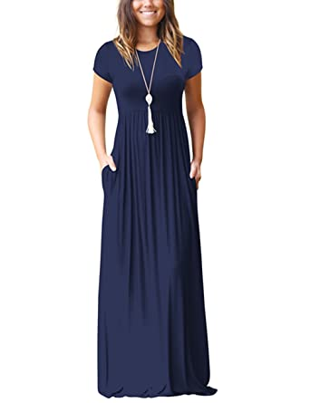 89b05425743d OQC Women's Short Sleeve Maxi Dress Plain Loose Casual Long Dress with Pockets  Navy Blue XX