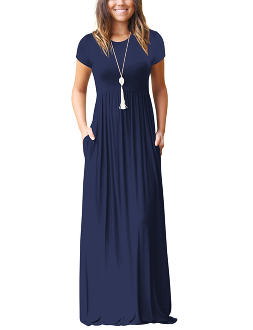ORQ Women's Short Sleeve Loose Plain Casual Long Maxi Tunic Dress With Pockets by ORQ (Image #1)