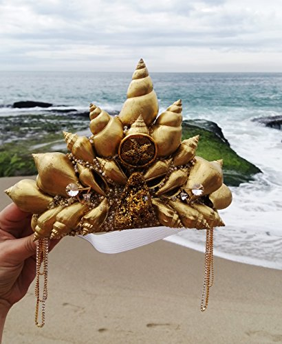Easter Sale Starfish Gold Mermaid Crown by Star Stuff Boutique Mermaid Headress, Gold Headdress, High Energy Mermraid Headpiece, Seashell Tiara by Star Stuff Boutique
