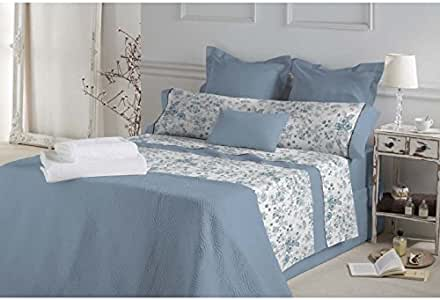 DON ALGODÓN.- Juego de sábanas Monique Color Azul para Cama de 180: Amazon.es: Hogar