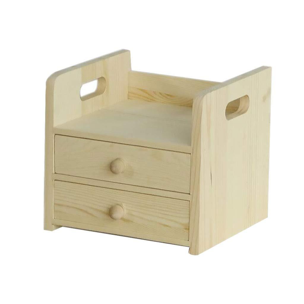 木のデスクトップのオルガナイザー、机の卓上のためのオフィスのメールラックまたは2つの引出しが付いているカウンター用品ワークスペースの棚 (サイズ さいず : 24.5x22x22) B07NVTHD1M  24.5x22x22