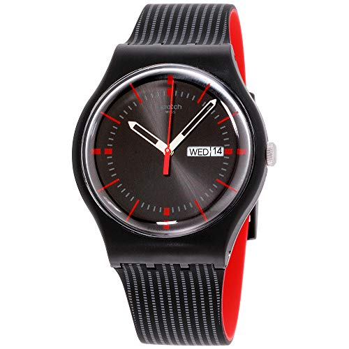Black Patterned Dial Watch - Swatch Unisex SUOB714 Originals Black Watch with Patterned Band