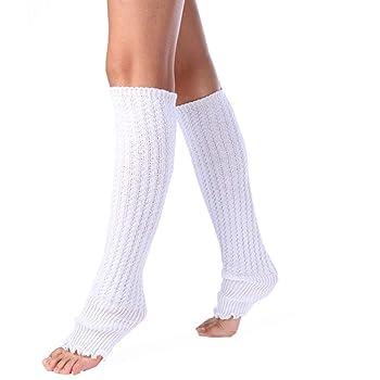 Women Winter Warm Twist Knitted Leg Warmer Solid Color Leggings Long Stocking