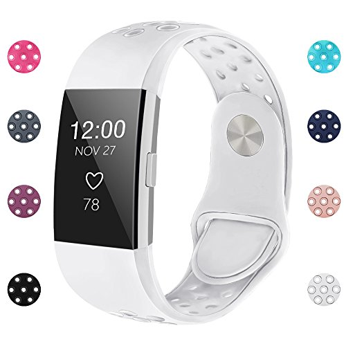 iGK Silicone Replacement Bands Compatible for Fitbit Charge 2, Adjustable Breathable Sport Strap Smartwatch Fitness Wristband with Air Holes with Clsap White Small