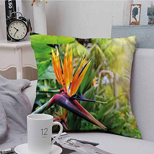 Square Lumbar Cushion Cover Plant Bird of