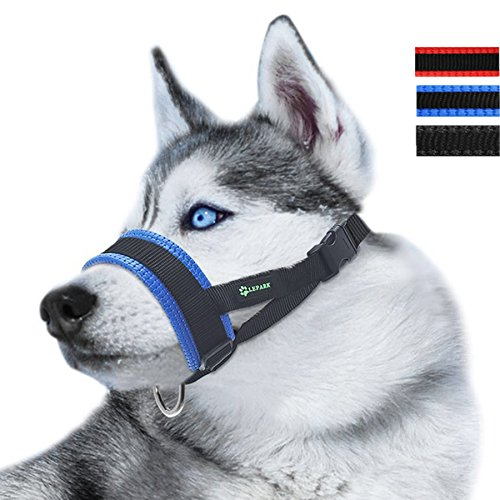 Lepark Nylon Dog Muzzle for Small,Medium,Large Dogs Prevent from Biting,Barking and Chewing,Adjustable Loop(L/Blue)