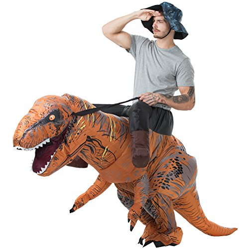 Dinosaur Costume Adults (GUDEEP T-Rex Riding Costumes Adult Inflatable Dinosaur Costume Fancy Dress for Halloween Cosplay Party Funny Clothes)