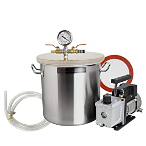 5 Gallon Stainless Steel Vacuum Degassing Chamber Silicone Kit w/3 CFM Pump Hose, US Shipping