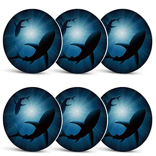 Shark Printing Coasters,Silhouette of the Fishes Swimming at Twilight Night Moon Mystic Magical Sea Scenery for Cold Drinks & Hot DrinksSet of 6