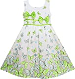 EY62 Girls Dress Butterfly Green Double Bow Tie Summer Beach Sundress Kids Size 6 Years