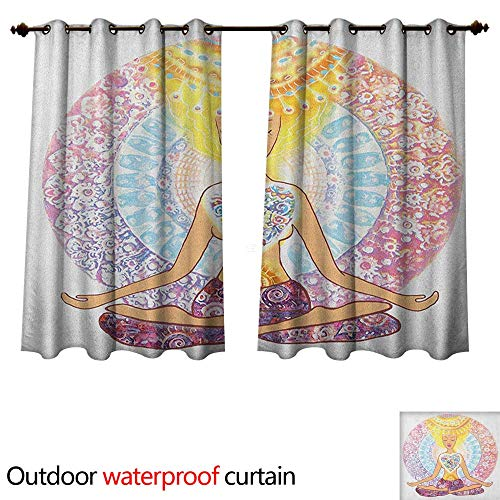 Anshesix Yoga Outdoor Curtains for Patio Sheer Hand Drawn Woman Sitting in Lotus Position Aura Energy Concentration Spirituality W96 x L72(245cm x 183cm)