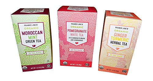 Trader Joes Organic Tea Variety Pack - Pomegranate White Tea, Moroccan Mint Green Tea, Ginger Turmeric Herbal Tea - 60 Tea Bags (20 x 3)