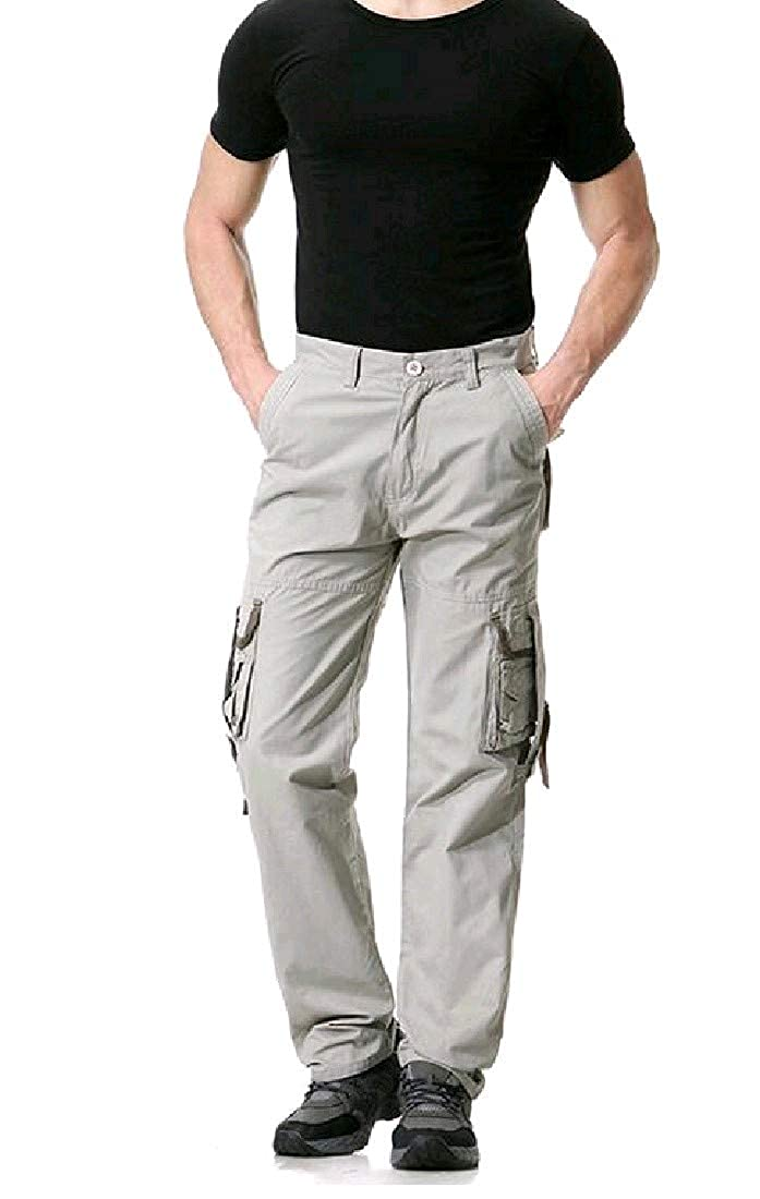 Comaba Mens Middle Waist Cargo Pocket Solid Color Plus Size Pants