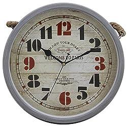 12 Retro Vintage Round Grey Matte Finishing Iron Hanging Rustic Wall Clock