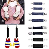 Sinwo 1 Pair Stainless Steel Mitten Clips Elastic Glove and Mitten Clips for Kids (D)