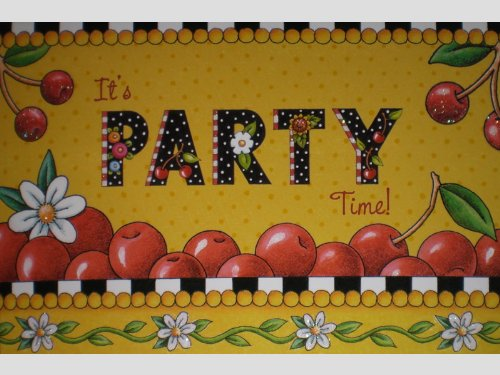 Mary Engelbreit Glittered It's Party Time Invitations w/ Envelopes - Set of 8
