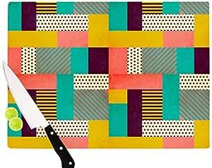 "Kess InHouse ""Geometric Love"" Louise Machado Glass Cutting Board, 11.5 by 15.75"", Multicolor"