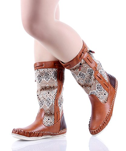 Bamboo Fashion Faux Fur Interior Casual Womens Mid-calf Boots Flats Winter Shoes New Without Box Chestnut cGXb9VxzGW