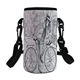 iPrint Small Water Bottle Sleeve Neoprene Bottle Cover,Lady Chewing Gum on Her Bike on Street Sketchy,fit for Stainless Steel/Plastic/Glass Bottles