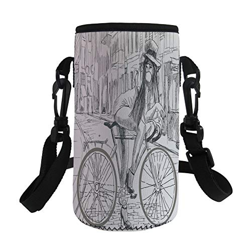 iPrint Small Water Bottle Sleeve Neoprene Bottle Cover,Lady Chewing Gum on Her Bike on Street Sketchy,fit for Stainless Steel/Plastic/Glass Bottles by iPrint