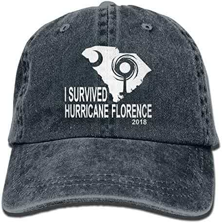 64e224e39a62ab FLYOLCANO I Survived Hurricane Florence 2018 Vintage Washed Dyed Dad Hat  Adjustable Baseball Hat
